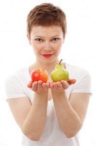 woman apple pear