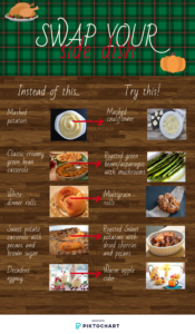 Swap Your Side Dish. Instead of mashed potatoes, try mashed cauliflower. Instead of creamy, green bean casserole, try roasted green beans or asparagus with mushrooms. Instead of white dinner rolls, try multigrain rolls. Instead of sweet potato casserole with pecans and brown sugar, try roasted sweet potatoes with dried cherries and pecans. Instead of eggnog, try warm apple cider.