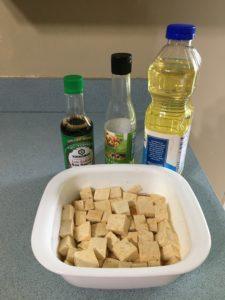 tofu cubes in marinade