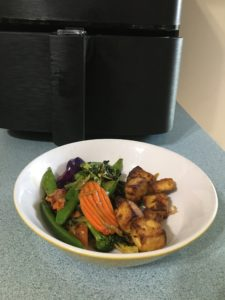 crispy tofu with stir fried vegetables